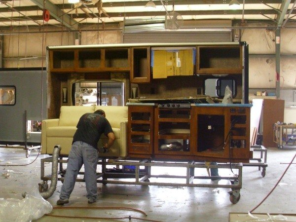 Preparing the slide-outs for installation in a Tiffin Motorhome