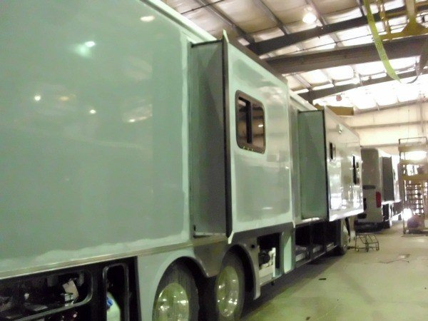 Slide-out is installed at the Tiffin Motorhome Factory