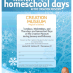 Homeschool Days will be back in January and February at the Creation Museum