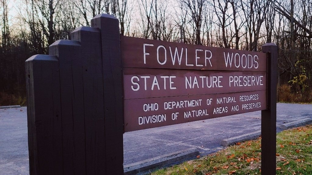 Fowler Woods State Nature Preserve sign