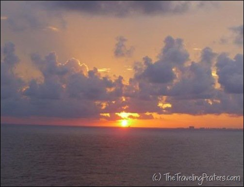 Sunset off the coast of Cozumel