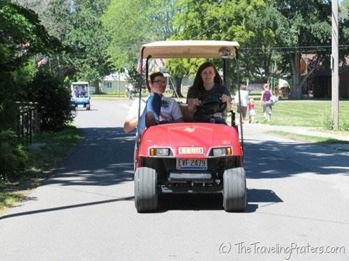 Riding in golf carts on Kelleys Island