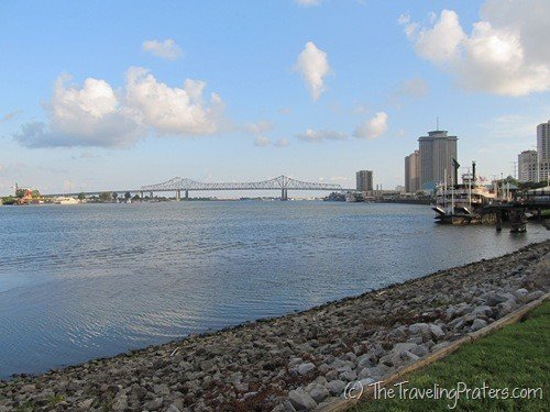 The Mississippi as seen from the Riverwalk in New Orleans
