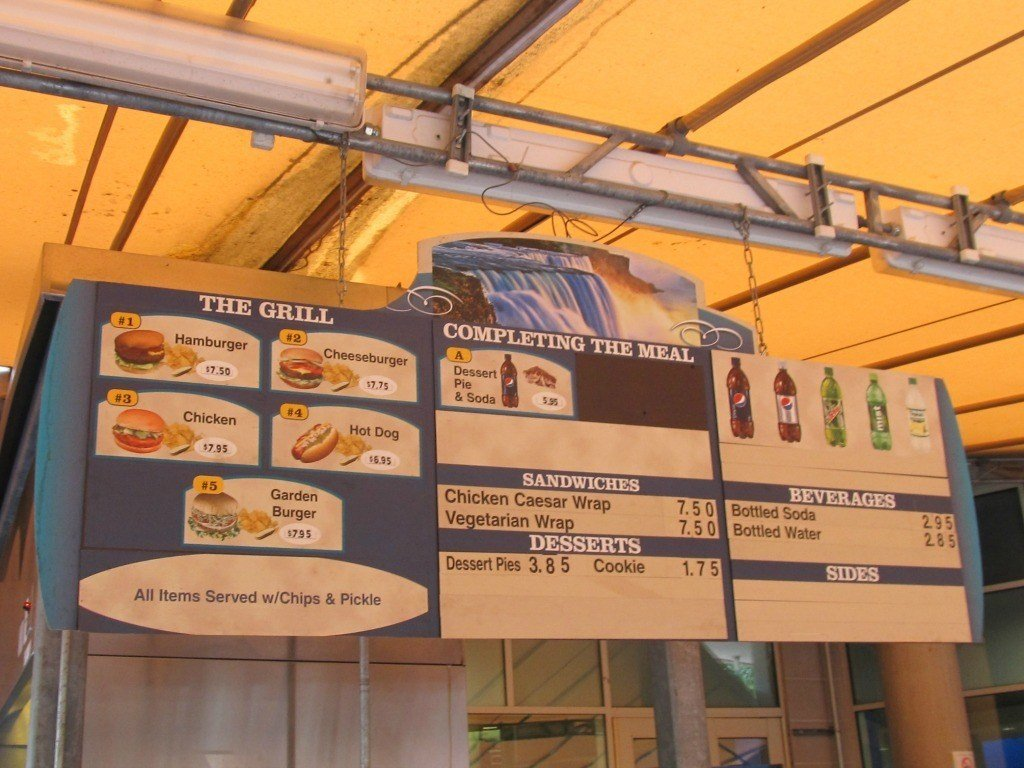 Food Prices at The Adventure Theater at Niagara Falls