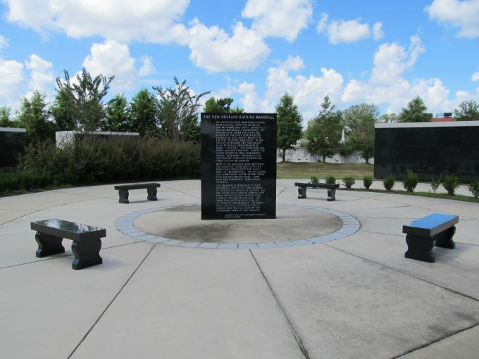 The Katrina Memorial is surrounded by benches where visitors can take a seat and reflect.