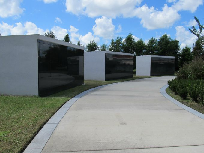 The mausoleums at the Katrina Memorial in New Orleans