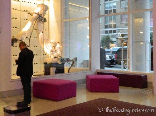 Inside the lobby of the Yotel
