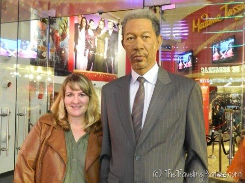 Morgan Freeman at Madame Tussaud's Wax Museum in Times Square