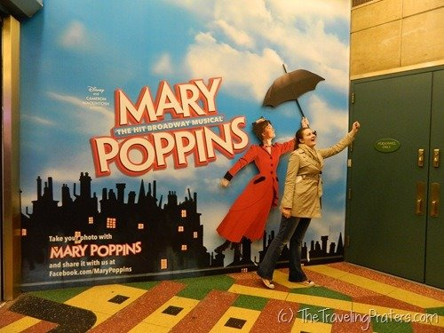 Posing with Mary Poppins in Times Square