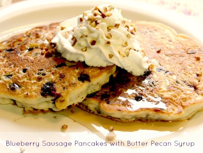 Blueberry Sausage Pancakes with Butter Pecan Syrup