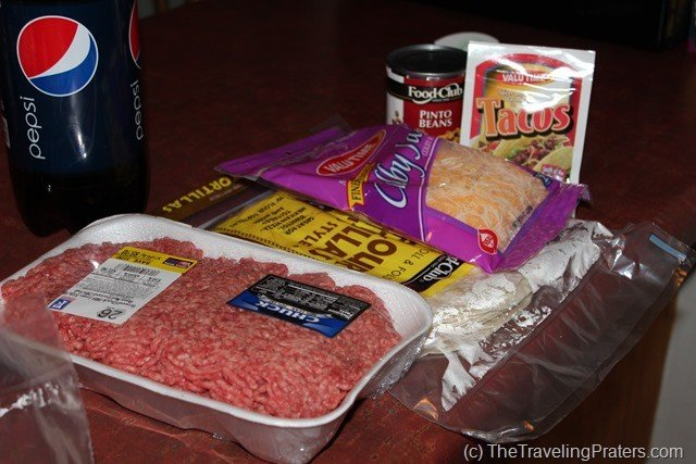 Cooking in a Hotel Room: Beef and Bean Burritos