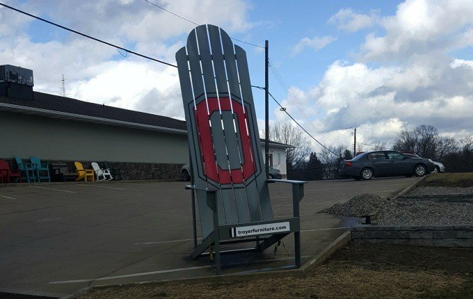 The giant adirondack chair in Sugarcreek, Ohio.
