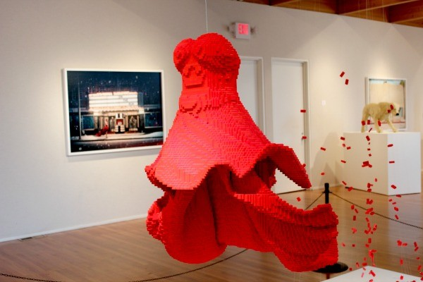 Art of the Brick red dress