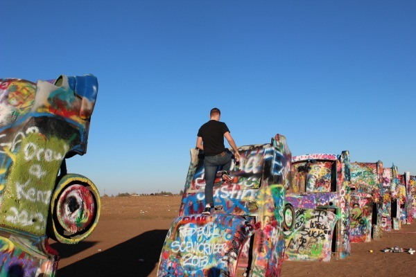 Cadillac Ranch painting the cars
