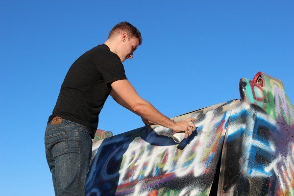 Leaving his mark on Cadillac Ranch