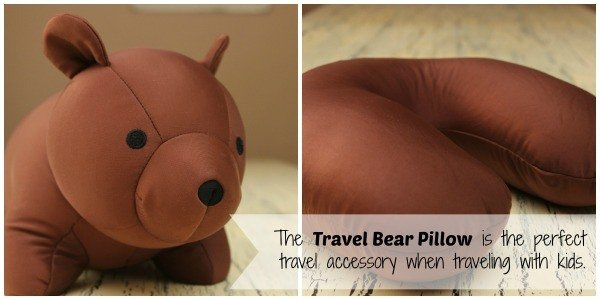 The Travel Bear Pillow by Uncommon Goods is the perfect travel accessory when traveling with kids