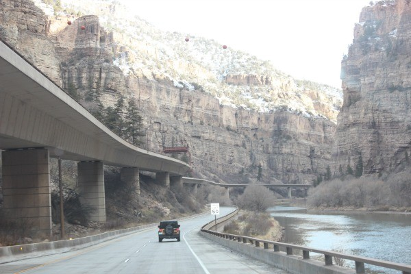 Driving along I-70 in Colorado