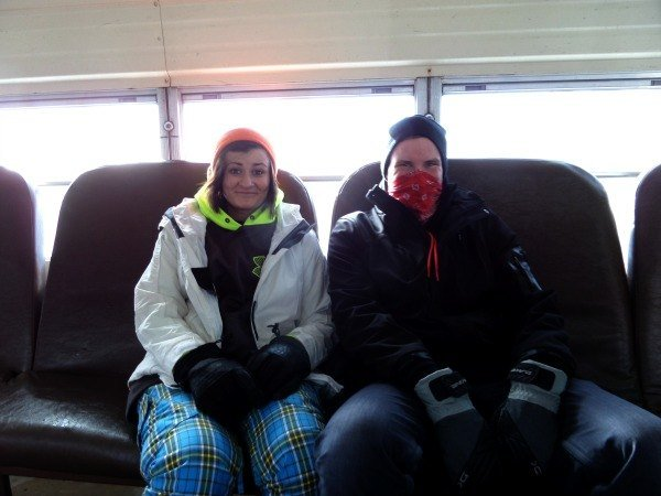 Riding the shuttle at Snowshoe Mountain Ski Resort
