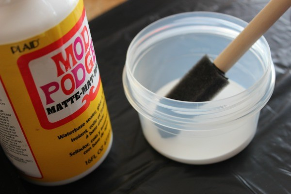Apply Mod Podge to the Travel Jar