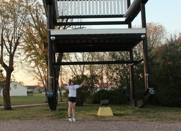 Chelsea jumping at the World's Largest Rocking Chair