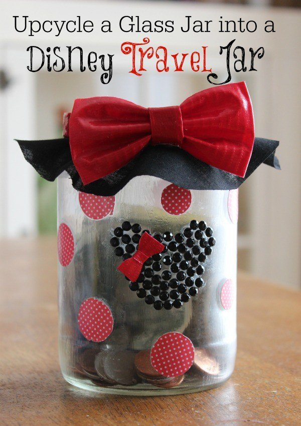 This DIY Disney Travel Savings Jar is a great way to get the whole family on board for saving money to go on a fun-filled Disney vacation!