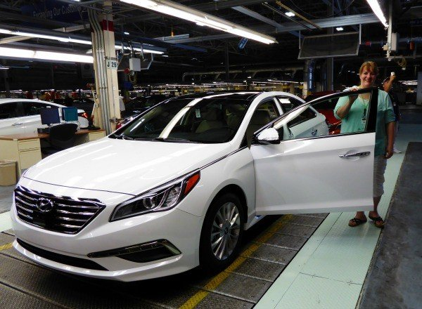 Driving a Hyundai Sonata off the assembly line