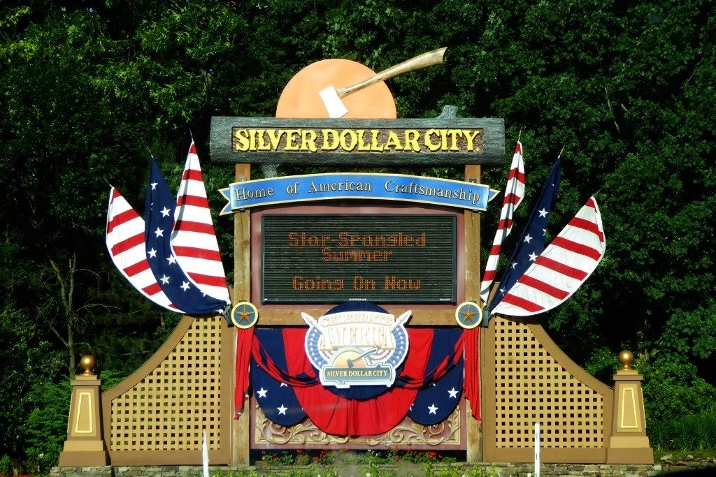 The Silver Dollar City Welcome Sign in Branson, Missouri.