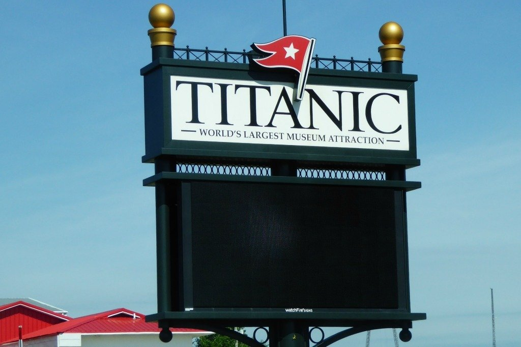The Titanic Museum sign in Branson