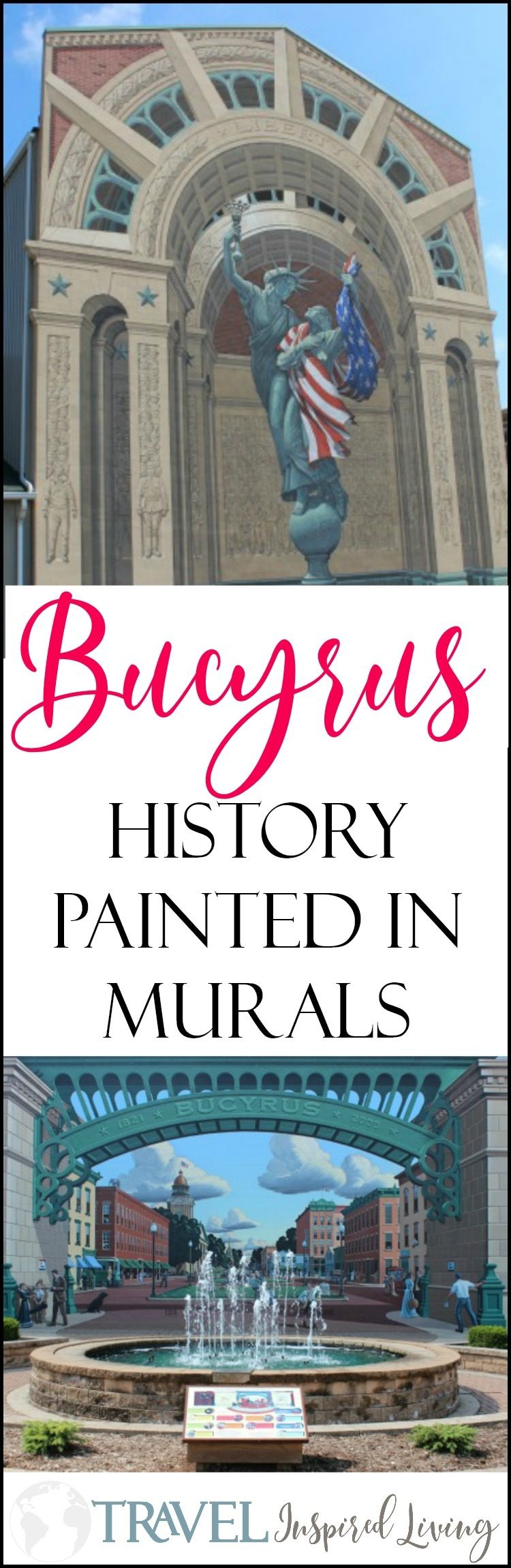 Those passing through Bucyrus, Ohio may notice two Eric Grohe murals, Great American Crossroad on the historic Lincoln Highway and Liberty Remembers, only a block away. The Bucyrus murals share the history of the community in a vivid display of color.