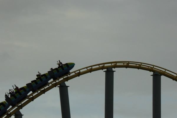 Riding the Steel Eel at SeaWorld in San Antonio