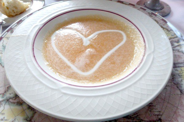 Cantaloupe Honey Apple Soup served at Glenlaurel during the 6-course meal
