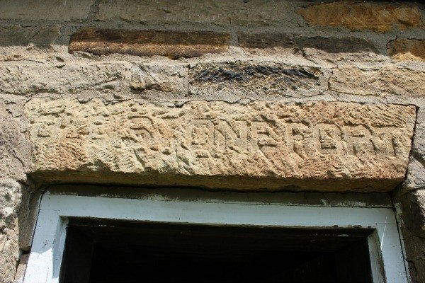 Inscription above door of the Old Stone Fort in Coshocton County Ohio