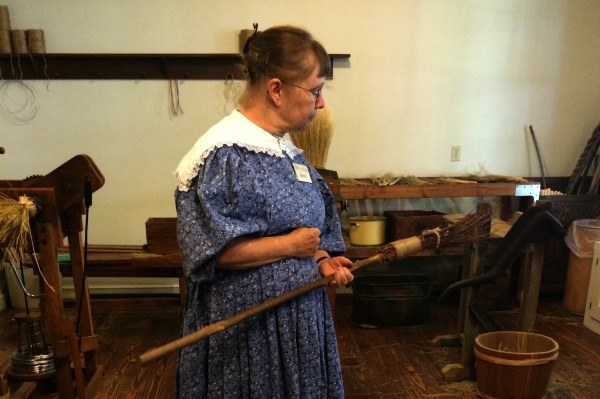 Learning how brooms are made in Roscoe Village