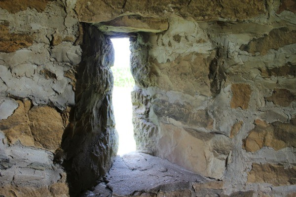 Looking out the window of the Old Stone Fort in Coshocton County in southeastern Ohio