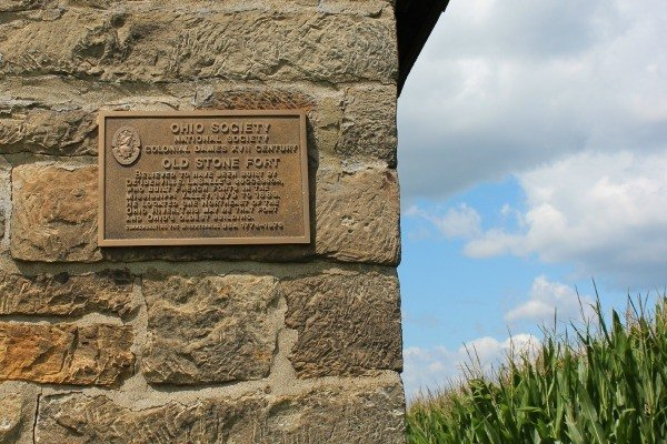 The metal plaque on the outside of the Old Stone Fort shares one theory of how the fort was constructed in Coshocton, Ohio