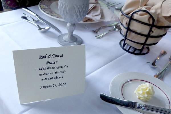 Place Setting at Dinner in the Glenlaurel Manor House