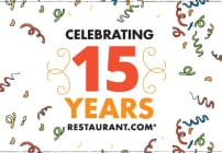 Celebrate 15 years with Restaurant.com