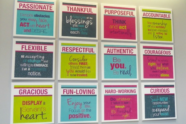 The twelve values of Thirty-One Gifts are displayed throughout the Home Office