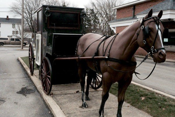 A Horse & Buggy ATM at a bank in Wellington, Ohio