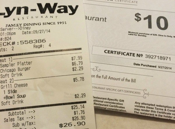 Lyn-Way Restaurant with a Restaurant.com gift certificate