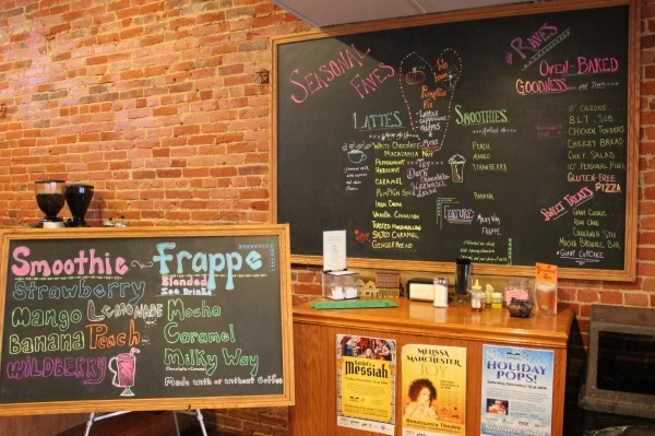 The drink menu at Brumby's Coffeehouse and Pizzeria