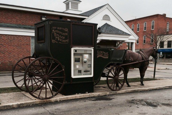 Unusual Horse and Buggy ATM roadside attraction at a bank in Wellington, Ohio