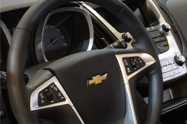 A glimpse of the dash of the Chevy Equinox at the Cleveland Auto Show