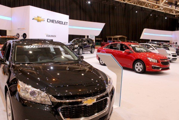 A glimpse of the Chevy booth at the Cleveland Auto Show