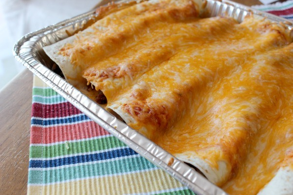 Easy Beef and Bean Enchiladas made with Campbell's Soup for Easy Cooking