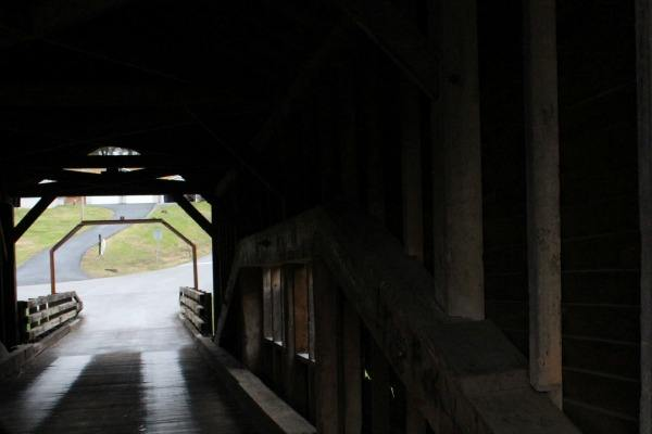 Inside the Harrisburg Covered Bridge in Sevierville, Tennessee