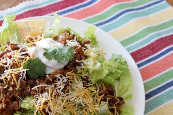 Taco Salad made with Mexican Style Soup from Campbell's Soup for Easy Cooking.