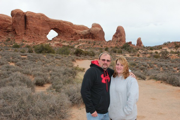 Taking a walk in Arches National Park in Utah.