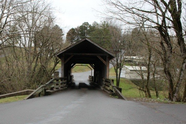 The back view of the Harrisburg Covered Bridge