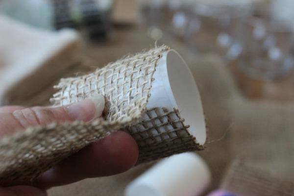Wrap your cardboard in a strip of burlap